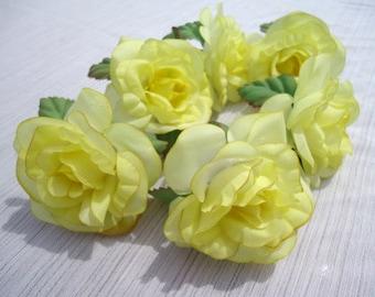 Vintage 60s Vera Yellow Flower Napkin Rings Set of 6