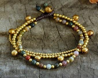 Sweet Fancy Jasper Brass Bell Bracelet