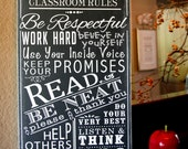 Classroom Rules Personalized Teacher Gift School Rules Typography Subway Art Wood Wooden Sign Painting