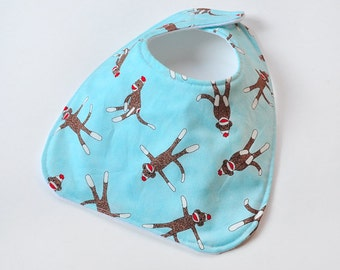 Baby Boy Bib Baby Accessories With Sock Monkey, Baby Bib, Soft Cotton and Flannel Backing, Baby Gift, Made From Sock Monkey Fabric