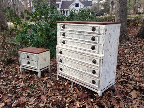 White Nightstand And Dresser: Items Similar To Distressed White Nightstand And Highboy