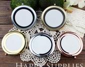 1pcs 70mm Round Blank Brass Double Sided Pocket Mirror (Mirror)