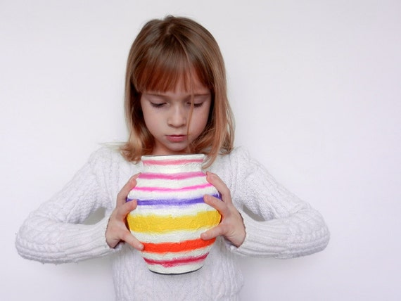 Vase / Colorful Striped Vases / Colorful stripes home decor