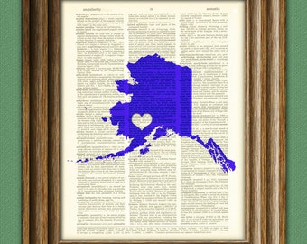 My Heart is in Alaska state map awesome upcycled vintage dictionary page book art print