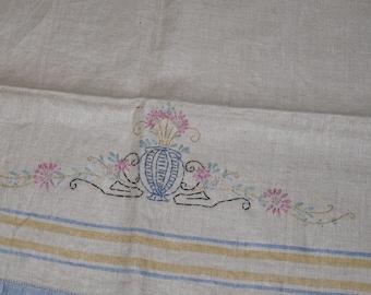 1940s Vintage Linen~Hand Embroidered~Linen Dish Towel~Unused Tea Towel