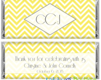 Chevron Chic Wedding Bridal Candy Bar Wrapper Party Favor...other colors available