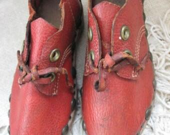 Antique Childs Shoes Vintage German Clogs Handmade Shoes Crafts Folk Art Primitive Rare 1940 or earlier