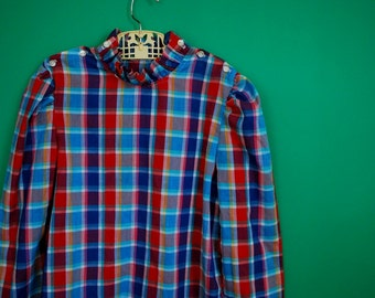 Vintage 1970s 1980s Girl's Plaid Blouse- Size 8 or 10