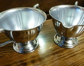 Vintage Cream and Sugar Set with Handles- Unmarked Silver or Silver Plated