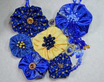 Mixed media Statement fabric textile necklace, bib blue golden,  flowers necklace, bridal, prom