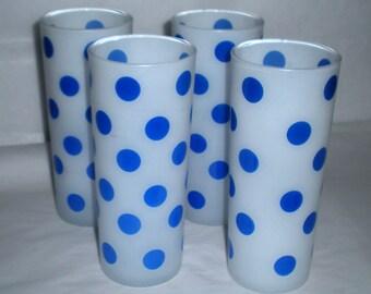 Sale! Blue Dots - 4 Fire King Dots Tumblers 1960's Glasses