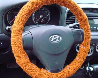 SALE Pumpkin Orange Knit Steering Wheel Cover with safety rubber backing