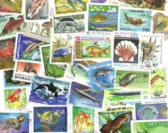 50 Fish and sealife stamps  -  Vintage and modern postage stamps ideal for scrapbooking, cards and invitations, collage, mail art