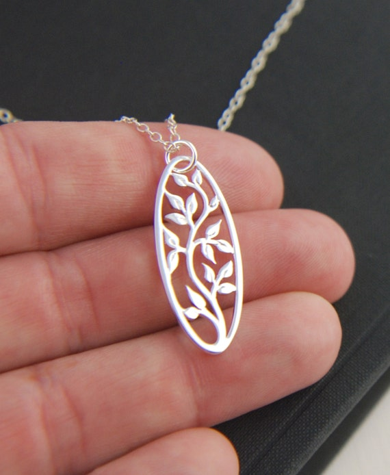 Oval silver tree of life pendant necklace in sterling silver, oval pendant, tree necklace, silver tree pendant