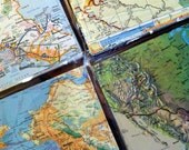 Vintage Maps. 50 Pieces. 6 inch Map Squares for Crafting. Atlases. collage, Altered Art, Smash Book, Journaling, Card Making