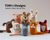 2 needle felting animal kits, wool DIY complete fiber art kits for beginners
