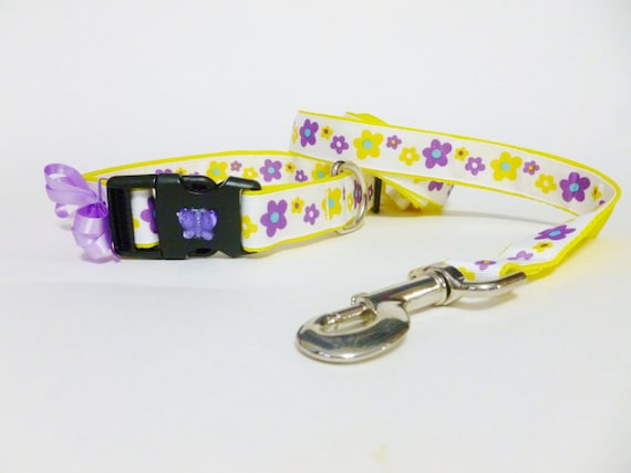 Dog Collar and Leash - Flowers