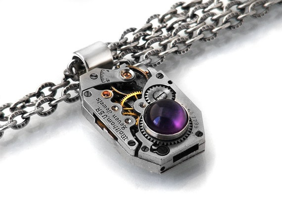 Steampunk Necklace, African Amethyst & Vintage Waltham Watch Movement - Long Chain Necklace