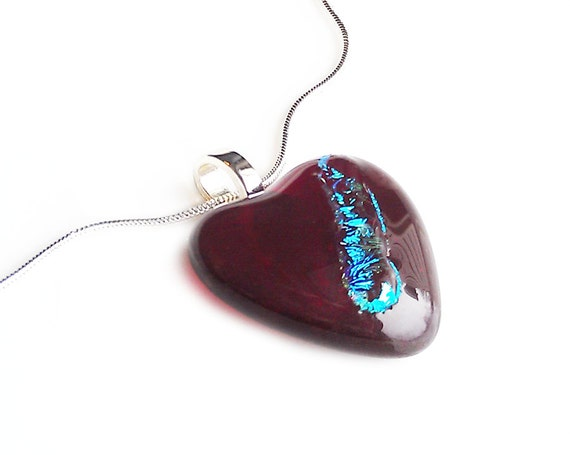 Valentines Red Heart Shaped Necklace Pendant - Dichroic Hand Made Fused Glass Jewelry