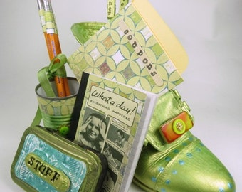 Home Office Oraganizer,  Recycled, Upcycled, Repurposed, Painted Shoe, Funky Office Decor