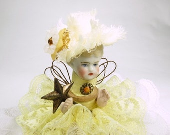 "Assemblage Angel ""Lacy Daffodil""  Assemblage Art Doll, Antique Doll Parts, Vintage Style Art Doll"