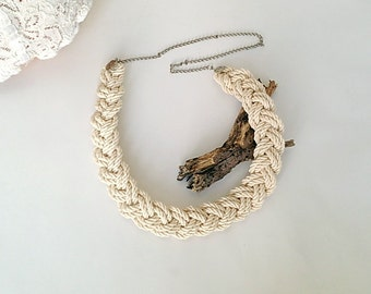 Cream Braided Thick Hemp and cotton  Necklace