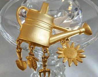 BIG SALE Vintage Watering Can Brooch. Garden Pin. Dangling Shovel, Fork, Sunflower, Peas. JJ