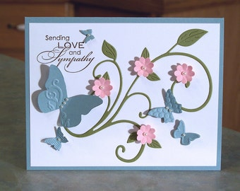 """Handmade Card with Embossed Butterflies - 4.25"""" x 5.5"""" - Stampin Up Sending Love and Sympathy - Die-Cut Flourish & Shaped Flowers"""
