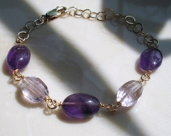 Amethyst Bracelet, Dark Purple Amethyst and Lilac Pink Amethyst, Gold Filled Chain Adjustable OOAK, Handmade ON SALE was 29.00