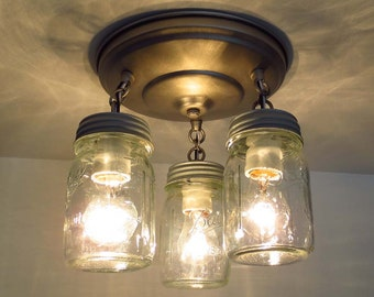 Canning Jar New Pint CEILING LIGHT Trio - Mason Jar Chandelier Lighting Farmhouse Flush Mount Fixture Track Fan Pendant Lamp Rustic Glass