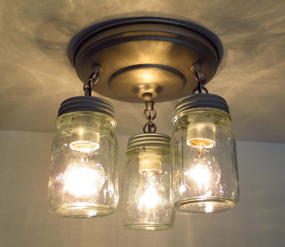Pint Canning Jar CEILING LIGHT Trio By LampGoods On Etsy