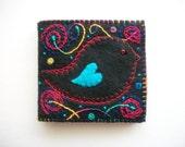 Needle Book Black Felt Needle Organizer with Folk Art Bird and Abstract Hand Embroidery Handsewn