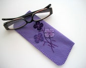 Purple Eyeglass Case Felt Case with Hand Embroidered Felt Flowers Handsewn