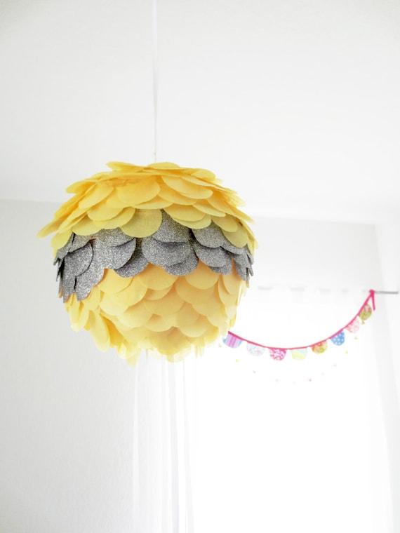 "Handmade custom Pull string Pinata/Party Lantern- 8"" diameter- gender reveal pinata"