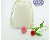"""75 Premium Muslin Cotton Bags 4"""" x 6"""". DIY Wedding, Craft Supplies, Packaging, Favor"""