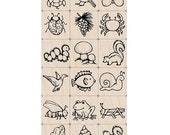 SALE Nature Stamps Set (18 woodblock stamps and 1 Ink Pad) Ink n Stamp Woodblock Craft Stamp (LL373)