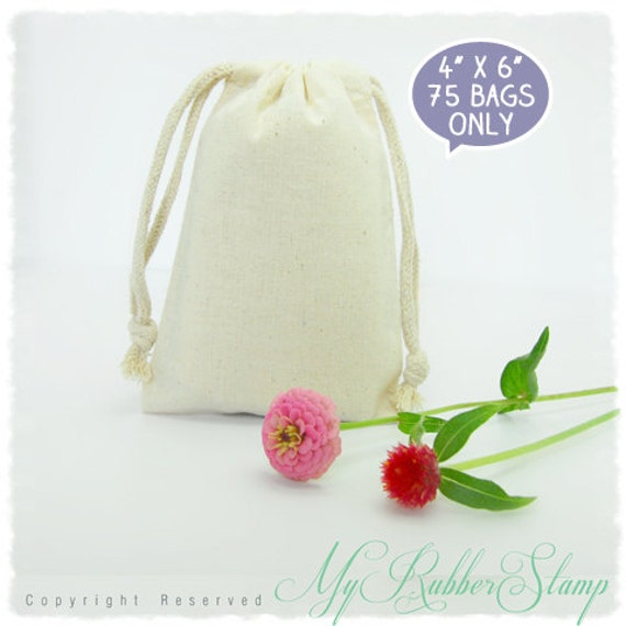 "75 Premium Muslin Cotton Bags 4"" x 6"". DIY Wedding, Craft Supplies, Packaging, Favor"