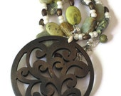 Carved Wood Flower Pendant Necklace, One of a Kind Jewelry, Gift for Women, Gifts Under 30, Gift Wrapped, Gifts for Mom, Mothers Day
