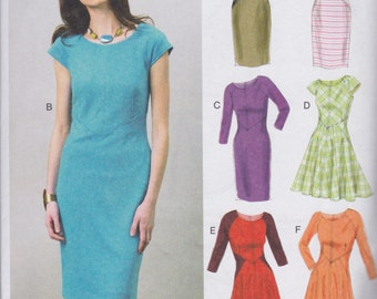 Vogue Easy Options Dress Pattern V8902 Scoop Neckline, Bias Bodice Insets with Skirt & Sleeve Variations Misses' Sizes 6 - 14 - As Is