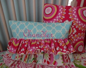 Ruffle Throw Pillow Cover in Kumari Garden Fabric