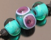 Lampwork glass bead set of 3, teal and purple focal bead with teal accent beads, dots with bubbles, transparent and opaque, contemporary