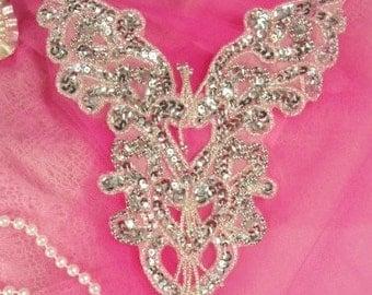 """0035 Silver  Heart Bodice Yoke 8"""" Sequin Beaded Applique  0035-sl"""