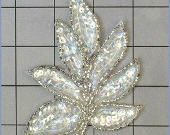 "FS476  Leaf Applique Sequin Crystal AB Silver Beaded Motif 4""   (FS476-cabsl)"