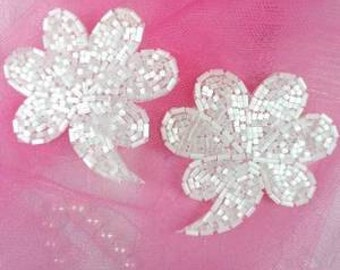 "FS739 White Beaded Mirror Pair Sequin Appliques 2.5"" (FS739X-wh)"