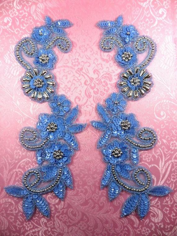 0183 mirror pair appliques sequin beaded pastel blue silver