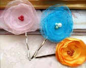 Flower Bobby Pins Set of 3 - Frothy Fairy Dreams Hair Pins in Pastel Pink, Turquoise Blue, Orange SALE