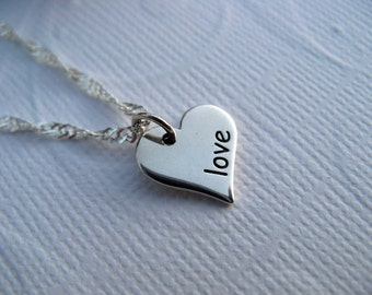 Sterling Silver Heart Charm Necklace,  Stamped charm, Love stamped Heart Charm with Sterling Silver Chain