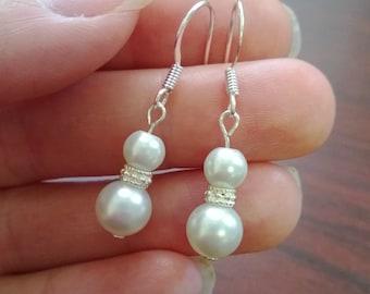 Beautiful Pearl Earrings with Swarovski Spacers