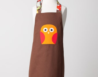 Kid / Toddler Size Reversible Owl Apron