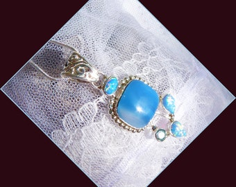 Blue Agate - Fire Opal Combination - Necklace  DD 8756